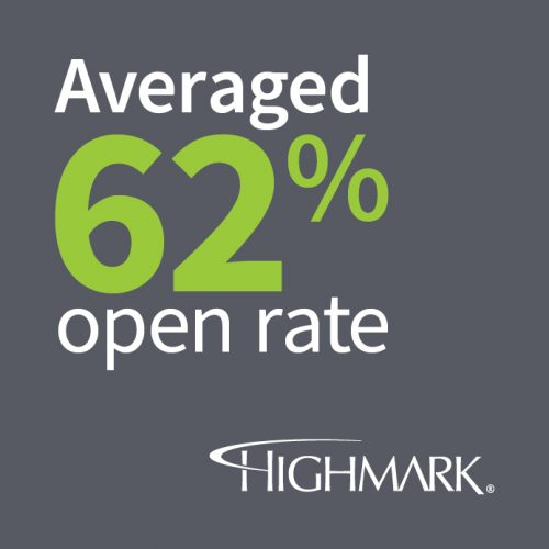 Highmark: Averaged 62% Open Rate