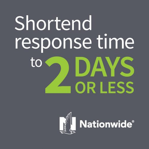 Nationwide: Shortened Response Time To 2 days Or Less